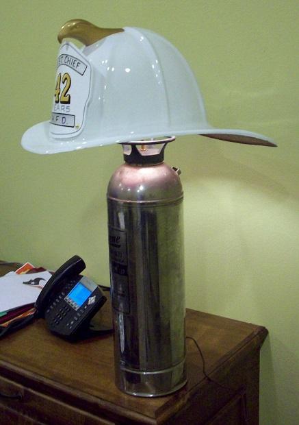 Fire Helmet Lamp - White Helmet